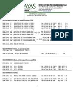 Class Schedule Summer 2017