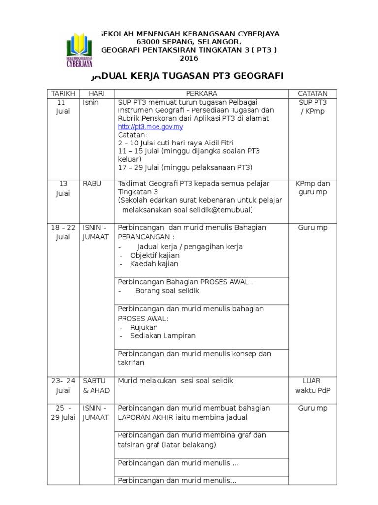 Contoh Jadual Kerja Geografi Pt3 2016