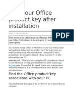 Find Your Office Product Key After Installation