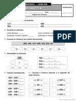 Ficha de Matemática - Janeiro