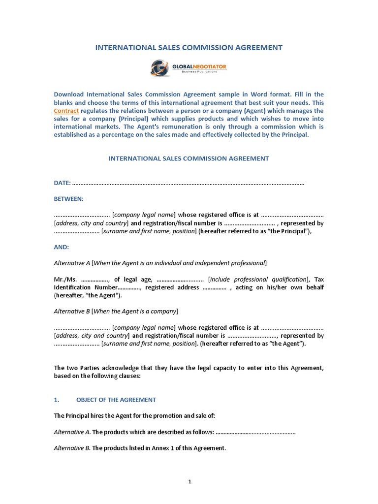 International Sales Commission Agreement Template Law Of Agency Arbitration