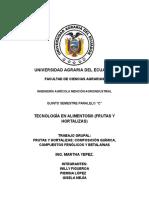 COMPONENTES QUÍMICOS DE FRUTAS Y HORTALIZAS