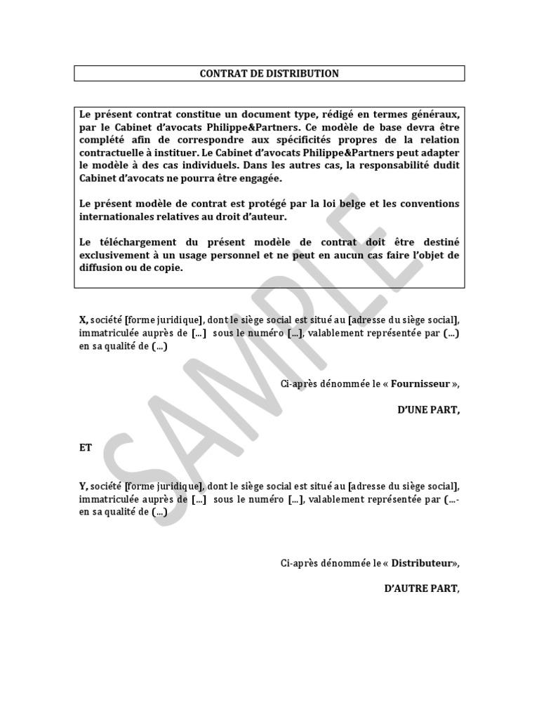 Contrat De Distribution Modele Avocat Gouvernement