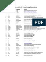 Daftar Command AutoCAD Yang Sering Digunakan