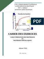 Cahier Des Exercices Caractérisation Des Matériaux