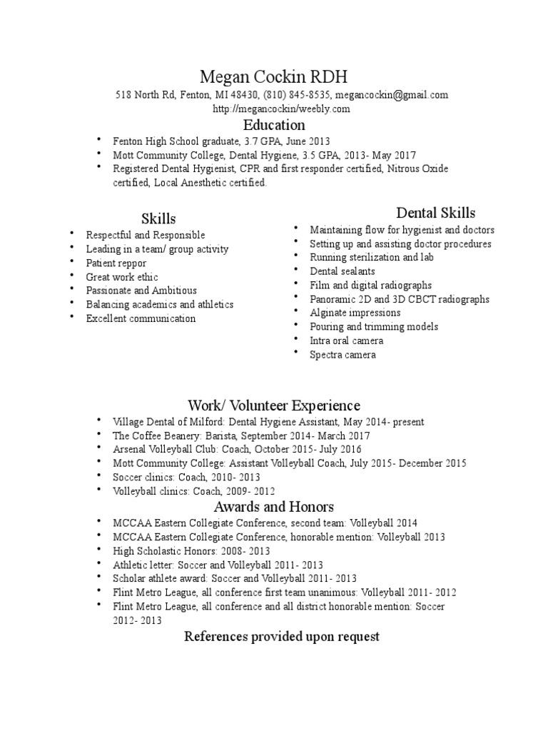 Resume2017 Dental Hygienist Clinical Medicine