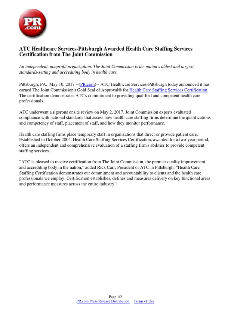 Atc healthcare services pittsburgh awarded health care staffing atc healthcare services pittsburgh awarded health care staffing services certification from the joint commission joint commission health economics 1betcityfo Choice Image