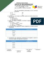 Evaluación de Ingles Examen Remedial