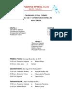 calendario oficial  torneo