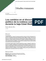 Los cambios en el discurso político de la nobleza castellana durante la baja Edad Media