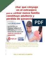 Aprovechar Que Cónyuge Trabaja en El Extranjero Para Formar Nueva Familia Constituye Adulterio y Pérdida de Ganancial