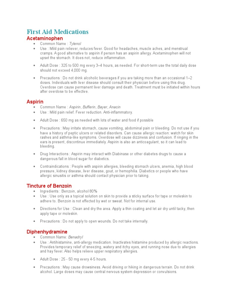 First Aid Medications | Aspirin | Allergy