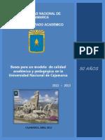 Bases Para Un Modelo de Calidad Academica y Pedagogica en La UNC
