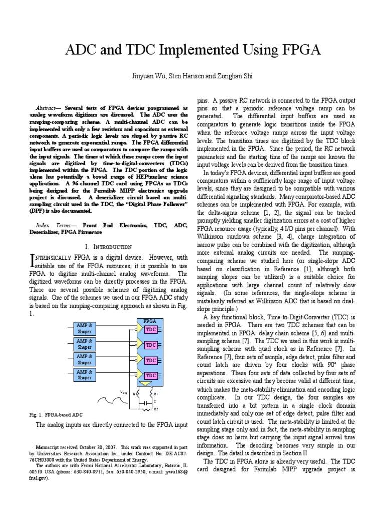 Fpga Adc Tdc Paper07 | Analog To Digital Converter | Field