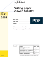 2003 KS3 Writing Test Answer Booklet