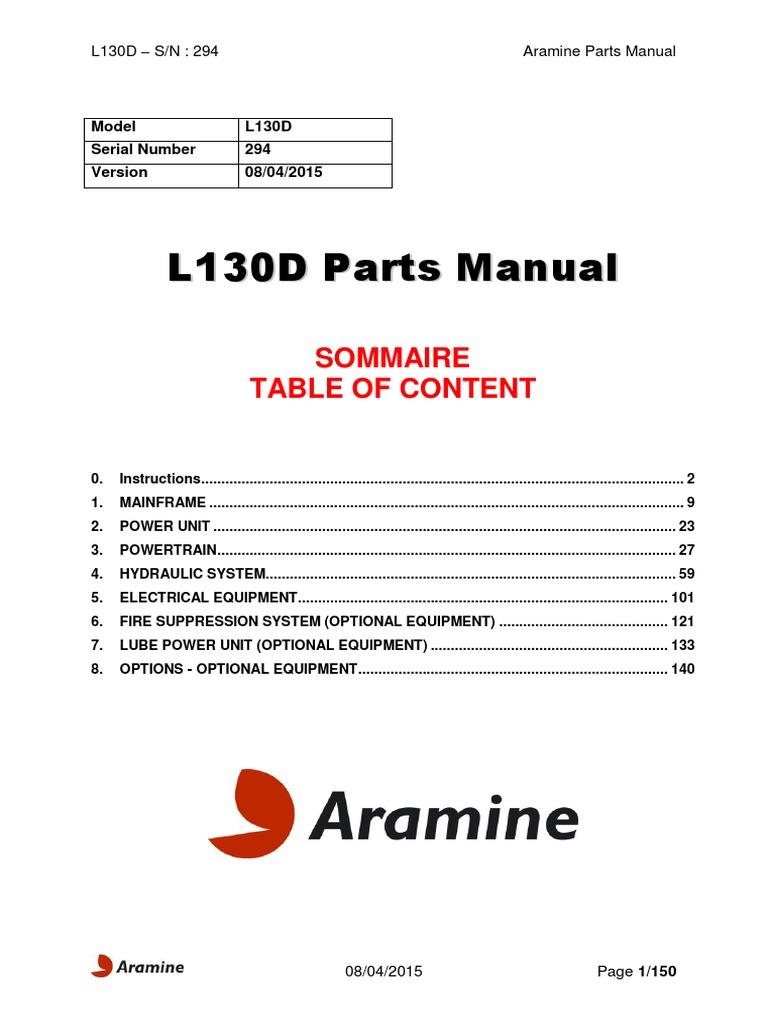 L130D 294 Aramine Parts Manual | Manufactured Goods