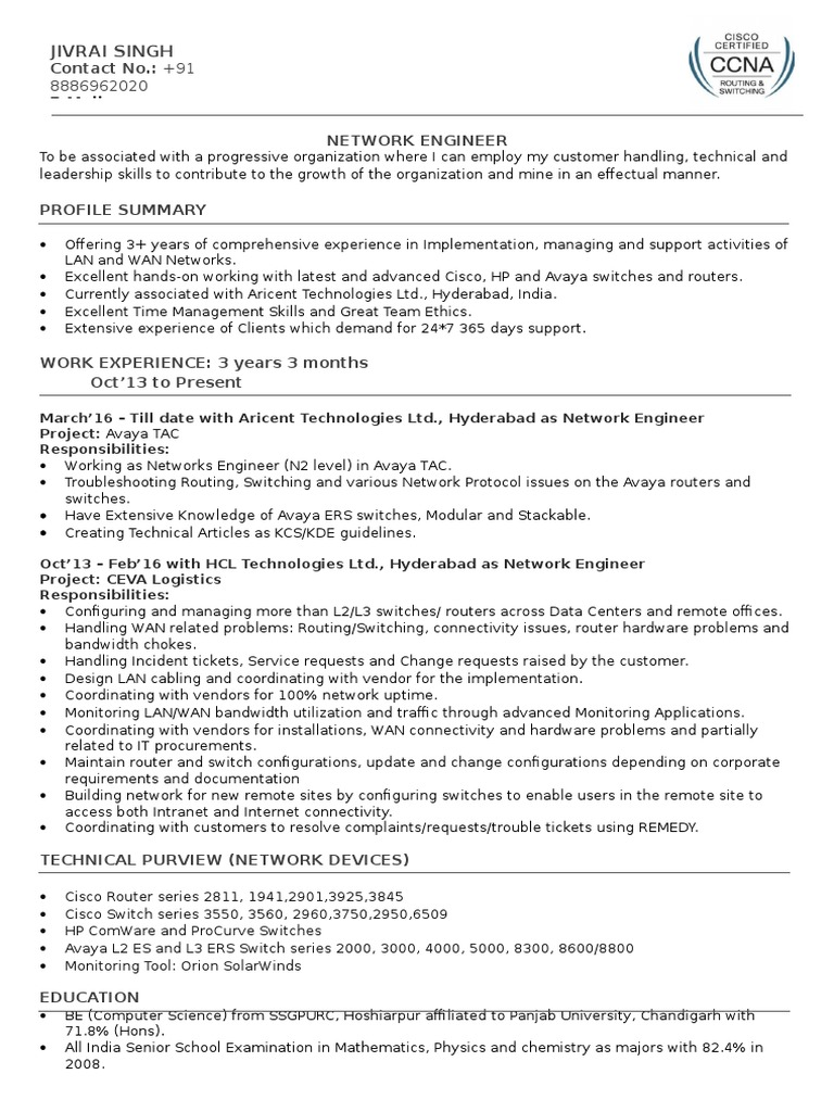 Resume docx | Cisco Systems | Router (Computing)