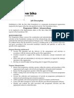 Job Description Programme Officer - Johannesburg
