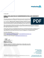 Maphorisa Communications - Public Declaration of Misrepresentation and Indemnity Notice