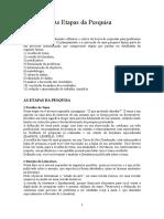 Pesquisa e Metodologia - 4. as Etapas Da Pesquisa