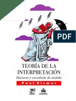 Ricoeur. Teoria de La Interpretacion. Siglo XXI