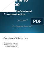 APC 100 167 YC,YF,YS Lecture 7 Presentation and Midterm