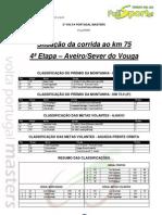 Situação corrida ao KM 75 - 4ª Etapa 2ª VOLTA PORTUGAL MASTERS