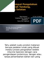 Analisa Tempat Pengolahan Tahu Daerah Tandang, Semarang