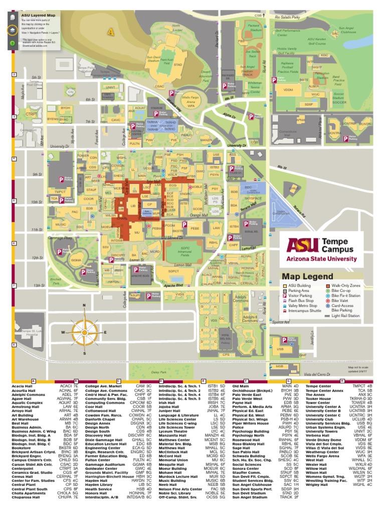 Arizona State University Tempe Campus Map.Asu Map Tempe Current Arizona State University Sports