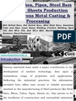 Wires, Tubes, Pipes, Steel Bars and S.S. Sheets Production with Ferrous Metal Casting & Processing (Hot Rolled Bars, Hot Rolled Bars, Mild Steel Bars, Seamless Tube and Pipe, Laser Beam Welding, Friction Welding, Spot TIG, Hot Wire TIG, Hot Wire MIG, Machine Reamer, Hand Reamers, Hand Reamers)