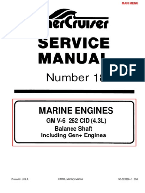 Merc Service Manual 18 4.3 Engines | Fuel Injection | Motor Oil on