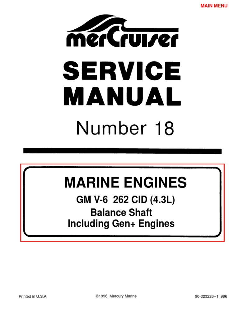 merc service manual 18 4 3 engines gasoline internal combustion rh scribd com Mercruiser 3 0 Engine Manual Mercruiser 3.0 Oil Filter