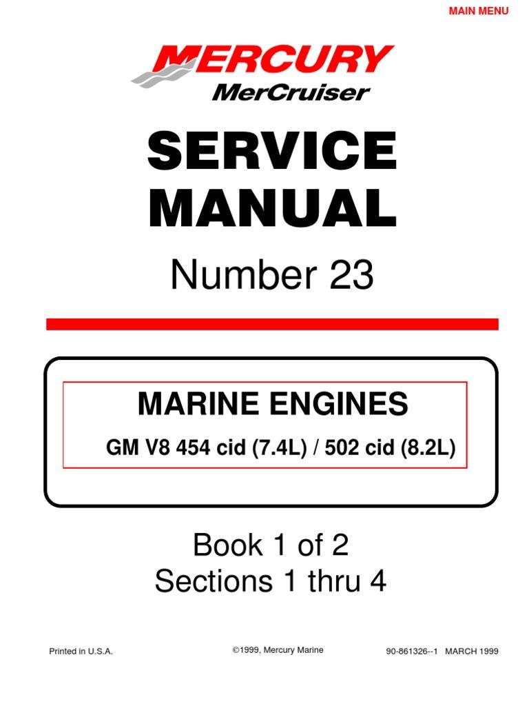merc service manual 23 454 502 engines gasoline internal rh scribd com Mercruiser Sea Pump for 454 Mercruiser 454 Starter Location
