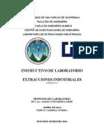 Instructivo de Laboratorio Extracciones Industriales 2do Semestre 2016