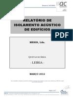 Relatório de Isolamento Acústico de Edificios [MLab]