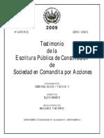 Testimonio de Escritura de Constitución de Sociedad en Comandita Por Acciones