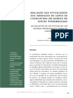 Avaliação Das Dificuldades Dos Ingressos No Curso de Licenciatura em Química No Sertão Pernambucano