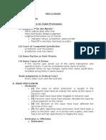 Preclusion Brief Outline