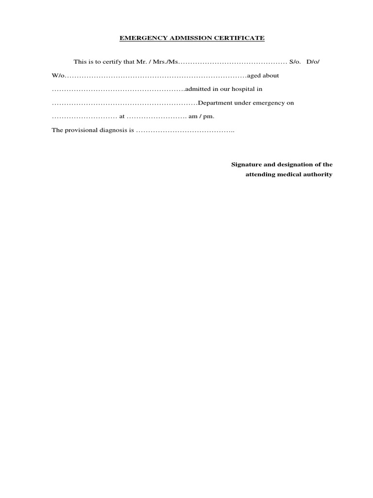 certificate emergency admission care