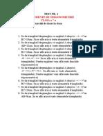 Test Nr. 1 Elemente de Trigonometrie Cl. 7