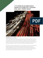 Doctrina Del Día El Contrato de Concesión Para La Venta de Automotores en El Código Civil y Comercial. Breves Comentarios. Autor Federico Daurat