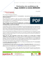 Déclaration de Candidataure Régis JUANICO Et Arlette BERNARD Vtp