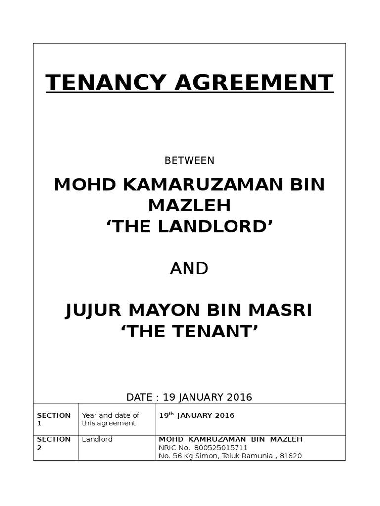 Tenancy Agreement Kamal Carwash Leasehold Estate Renting