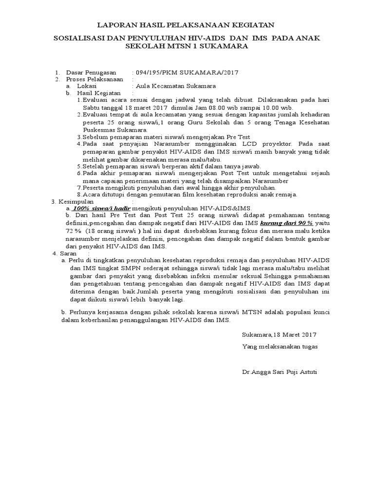 Laporan Hasil Pelaksanaan Kegiatan Sosialisasi Dan Penyuluhan Hiv