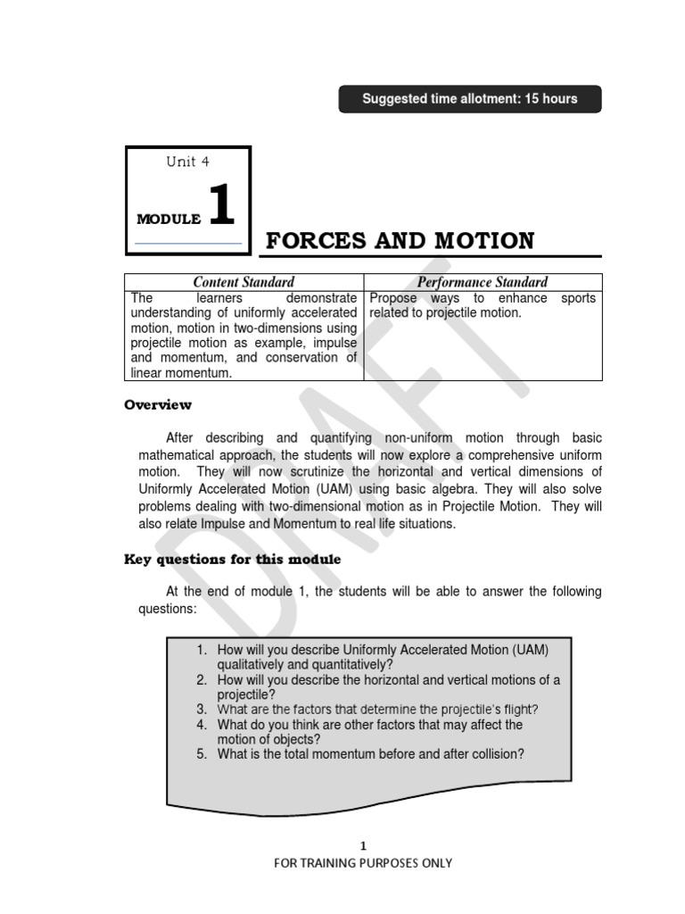 FME TG Mod 1 Forces Motion | Trajectory | Acceleration