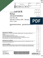 January 2009 QP - Unit 2 Edexcel Biology a-level