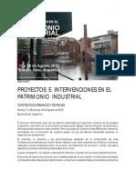 Seminario Proyectos e Intervenciones en El Patrimonio Industrial