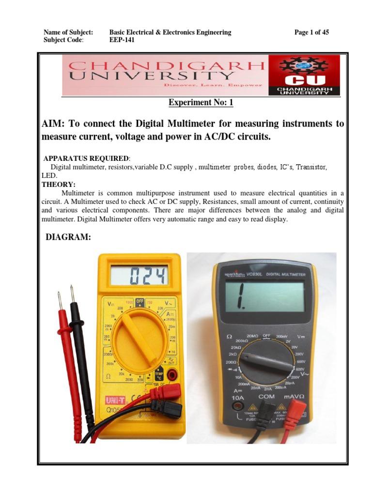 Beee Lab Manual Ac Power Pn Junction Circuit Digital Voltmeter Diagram Supply