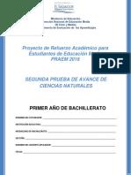 Segunda Prueba de Avance – Ciencias Naturales – Primer Año de Bachillerato (PRAEM 2016)