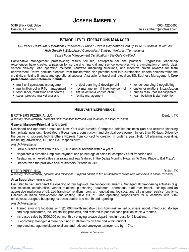 resume Little Caesars Resume free operation manager resume pdf download franchising sales